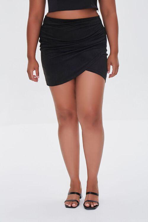 BLACK Plus Size Tulip Mini Skirt, image 2