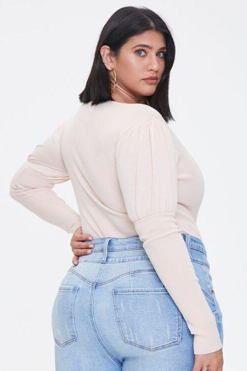 Plus Size Gigot-Sleeve Bodysuit, image 3