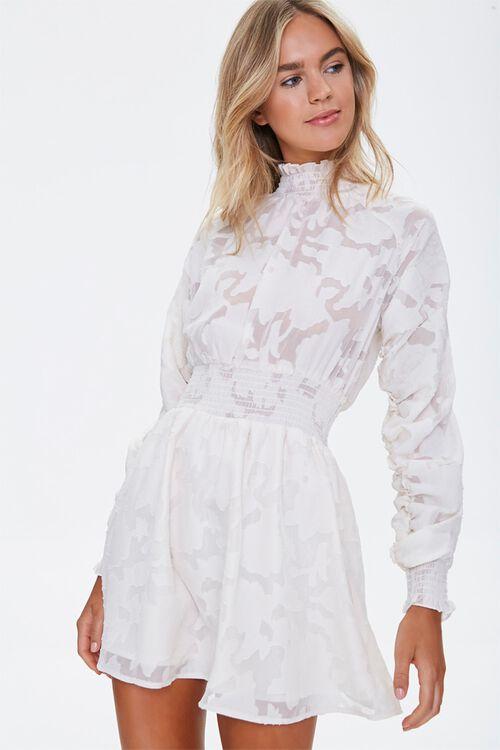 Abstract Smocked-Trim Mini Dress, image 1