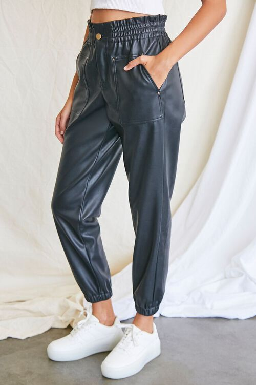 BLACK Faux Leather Paperbag Pants, image 3