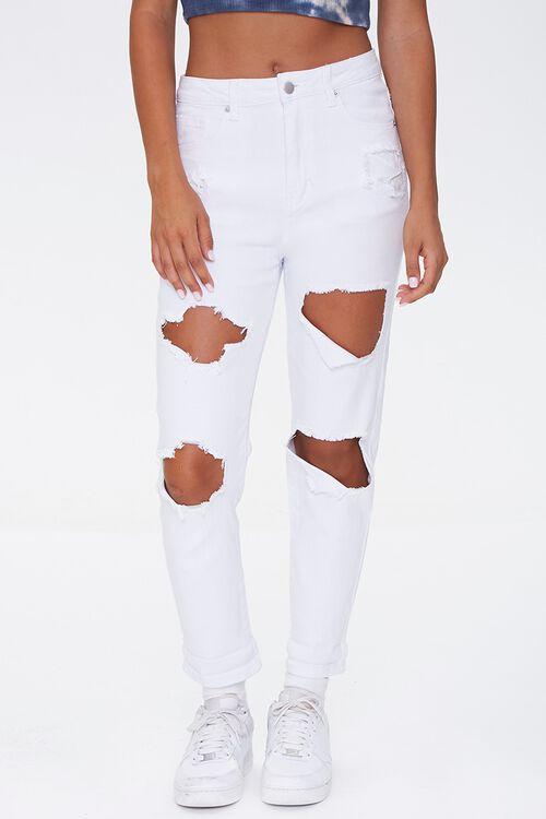 WHITE High-Rise Boyfriend Jeans, image 2