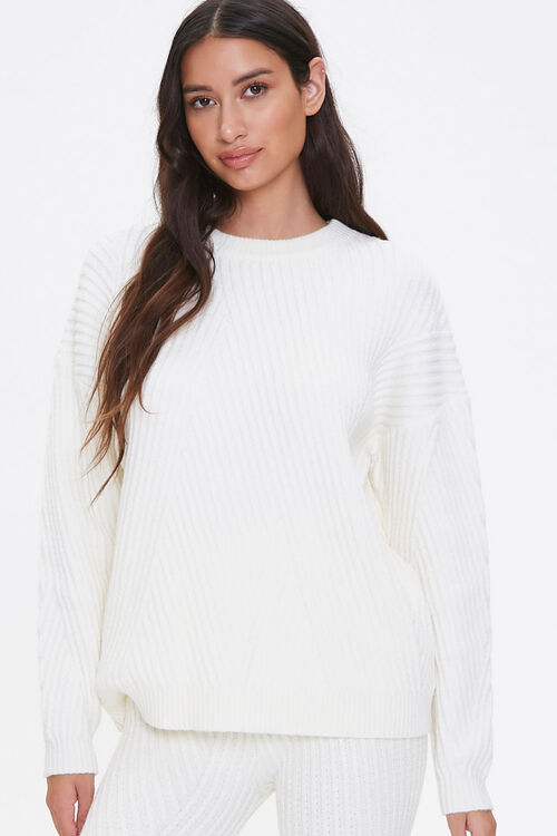 Ribbed Knit Drop-Sleeve Sweater, image 1