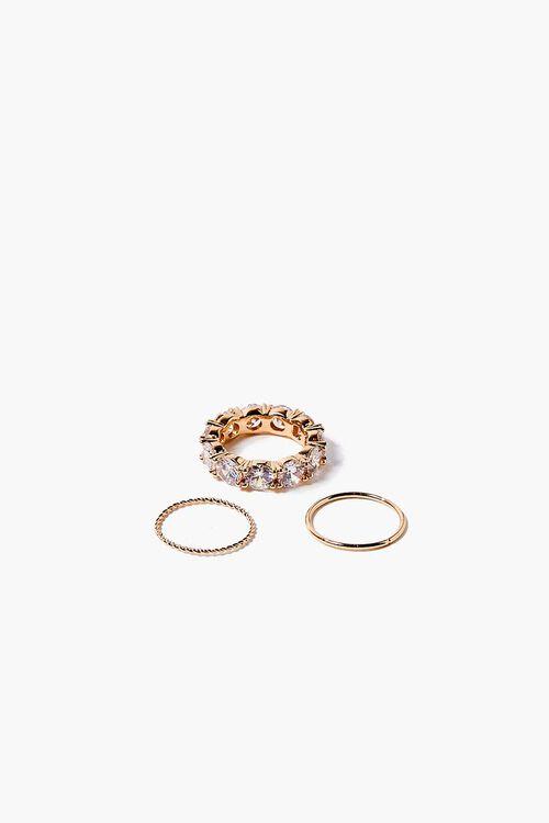 GOLD Faux Gem Infinity Ring Set, image 1