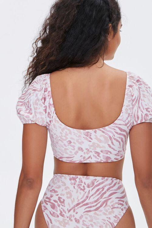 Animal Print Puff Sleeve Bikini Top, image 3