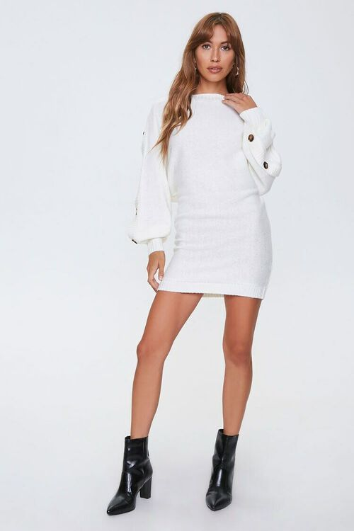 IVORY Button-Trim Sweater Dress, image 3