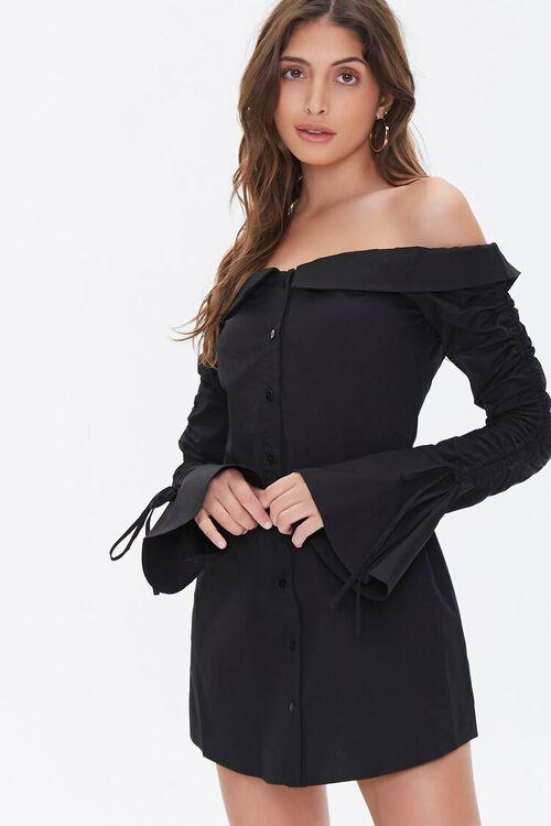 Poplin Off-the-Shoulder Shirt Dress, image 1