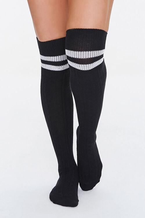 BLACK/WHITE Over-the-Knee Striped Socks, image 4