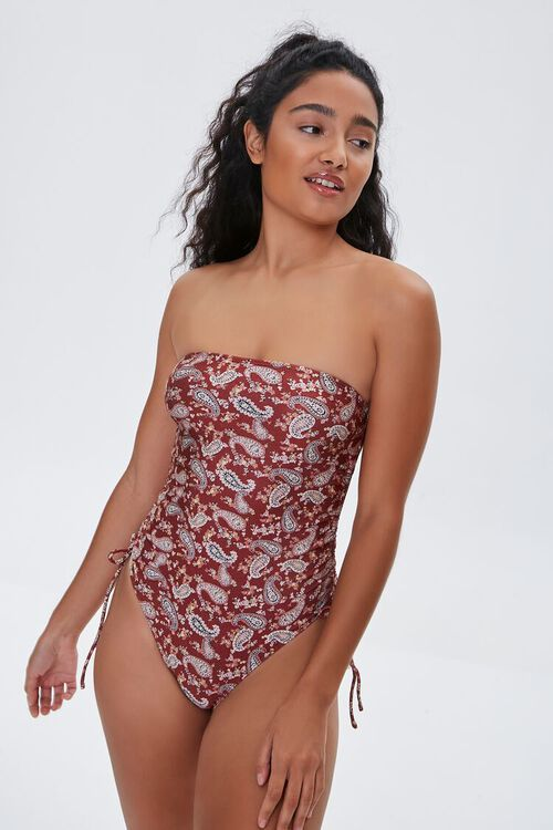 Paisley Strapless One-Piece Swimsuit, image 1
