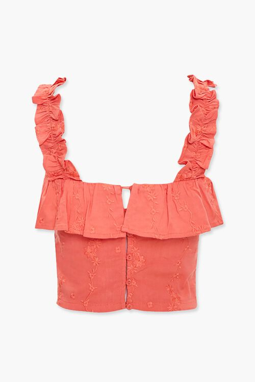 Embroidered Flounce Crop Top, image 3