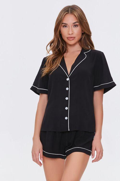 Piped-Trim Shirt & Shorts Pajama Set, image 1