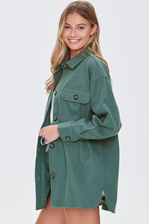 GREEN Oversized Button-Front Shacket, image 5