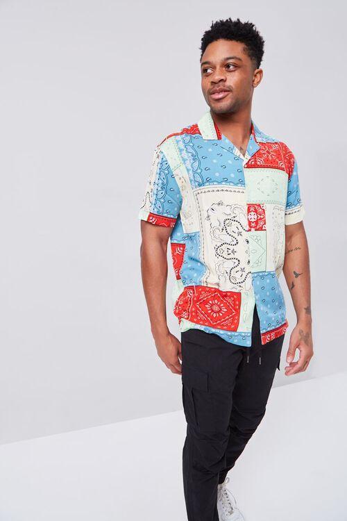 BLUE/MULTI Patchwork Bandana Print Fitted Shirt, image 6