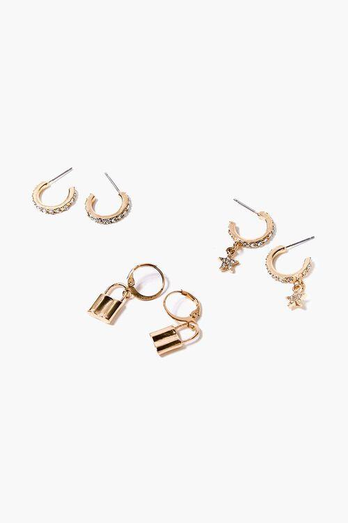 Star & Lock Charm Hoop Earring Set, image 1