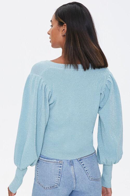 Glitter Knit Balloon-Sleeve Sweater, image 3