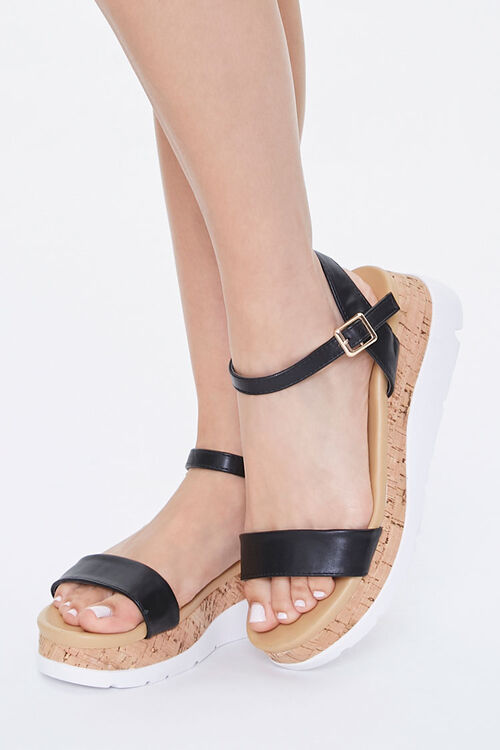 Faux Leather Cork Wedges, image 1