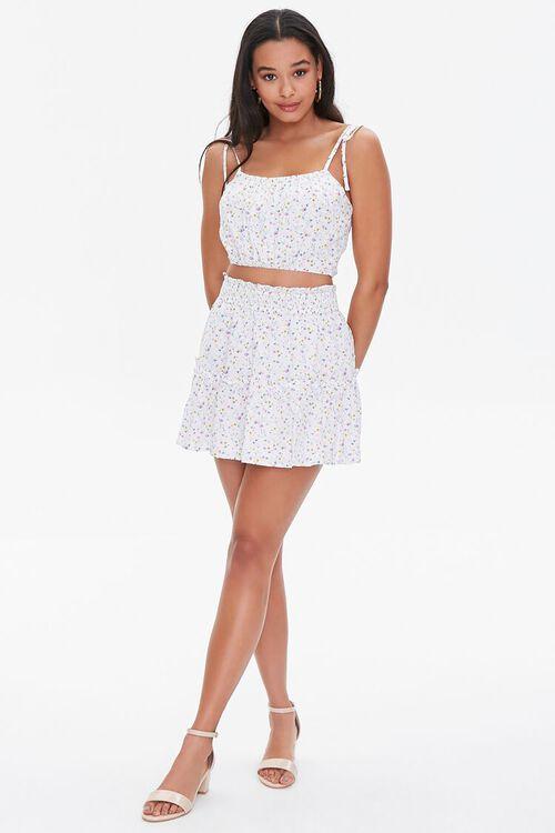 WHITE/MULTI Floral Print Mini Skirt, image 5