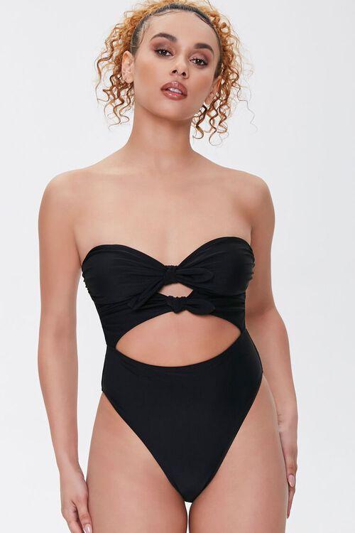 BLACK Bow Cutout One-Piece Swimsuit, image 1