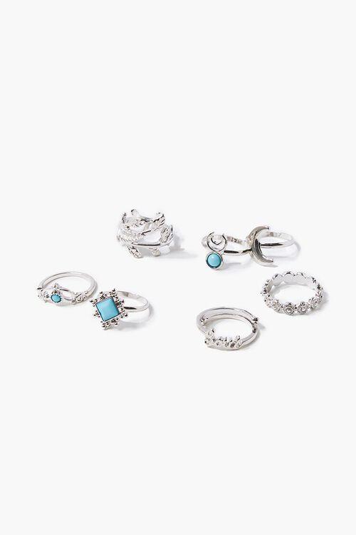 SILVER Faux Gem Engraved Ring Set, image 1