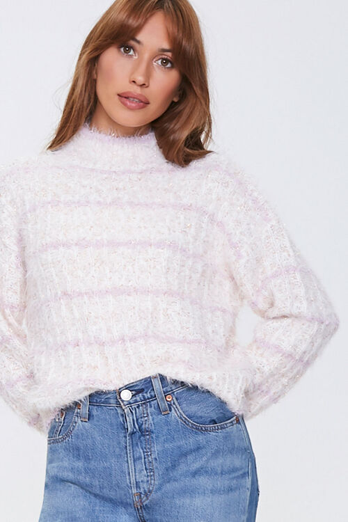 Striped Fuzzy Knit Sweater, image 1