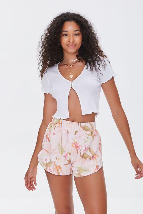 Tropical Leaf Print Shorts, image 2