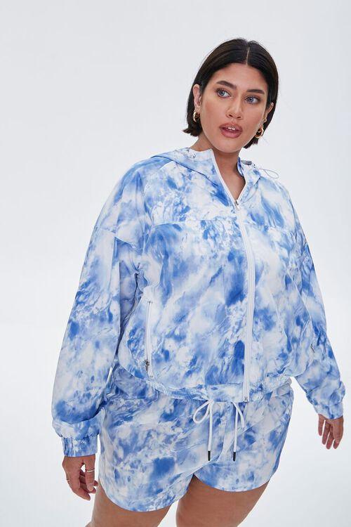 BLUE/WHITE Plus Size Tie-Dye Drawstring Shorts, image 1