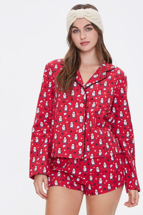 Ski Bear Print Pajama Set, image 1