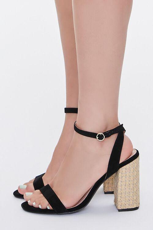 Faux Suede Basketwoven Block Heels, image 2