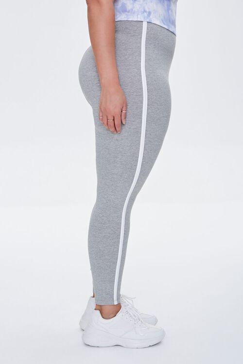 HEATHER GREY/WHITE Plus Size Side-Striped Leggings, image 3