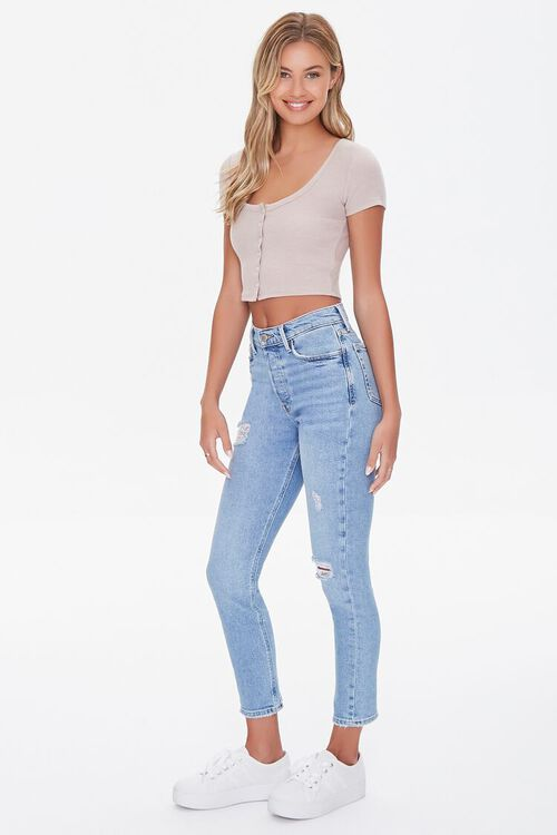 TAUPE Button-Front Crop Top, image 4