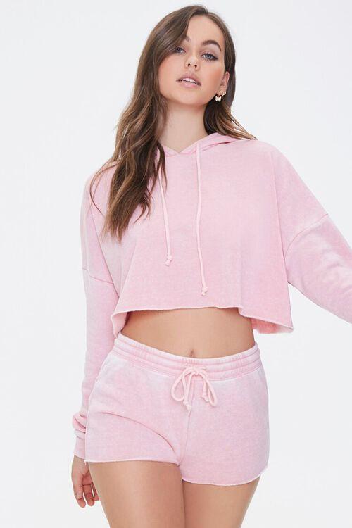 PINK Hooded Heathered Pajama Top, image 1