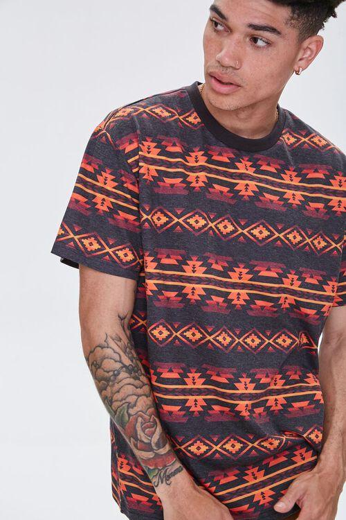 Striped Geo Print Crew Neck Tee, image 1