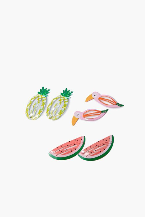 PINK/MULTI Tropical Snap Hair Clips, image 1
