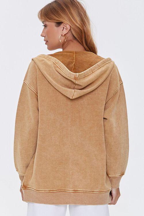 CAMEL Oil Wash Fleece Zip-Up Hoodie, image 3