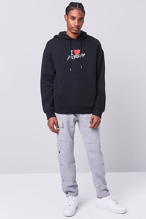 BLACK/MULTI Problems Embroidered Graphic Hoodie, image 4