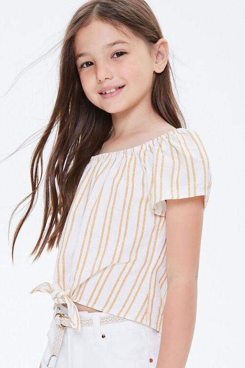 Girls Striped Self-Tie Top (Kids), image 1