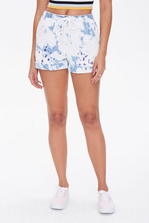 WHITE/BLUE Bleach Dye Drawstring Shorts, image 2