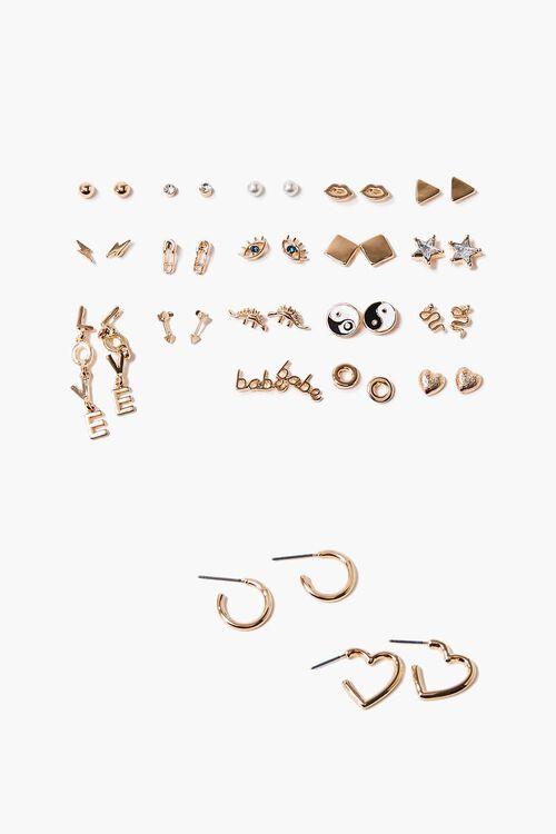 GOLD/CLEAR Rhinestone Variety Earrings Set, image 1