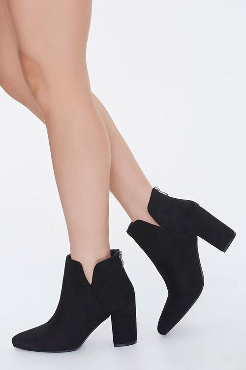 Faux Suede Notched Block Heel Booties, image 1