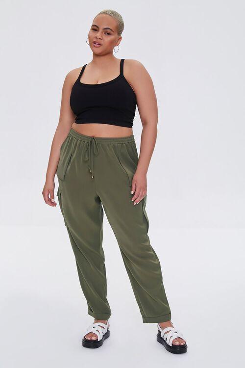 Plus Size Drawstring Cargo Pants, image 1