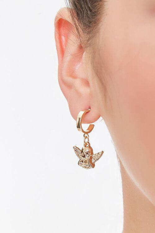 GOLD Upcycled Cherub Pendant Drop Earrings, image 1