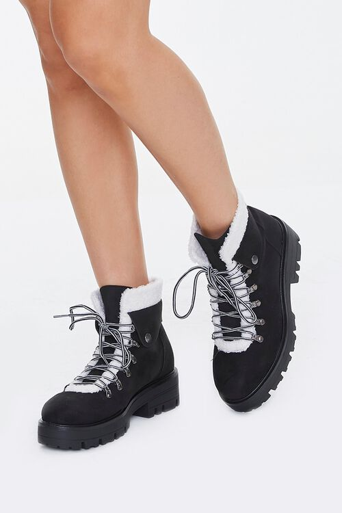 Faux Shearling-Trim Ankle Boots, image 1