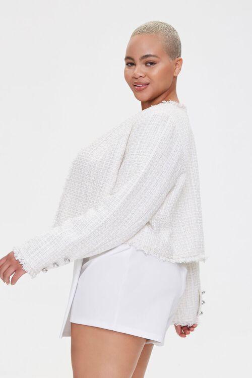 Plus Size Distressed Tweed Blazer, image 2