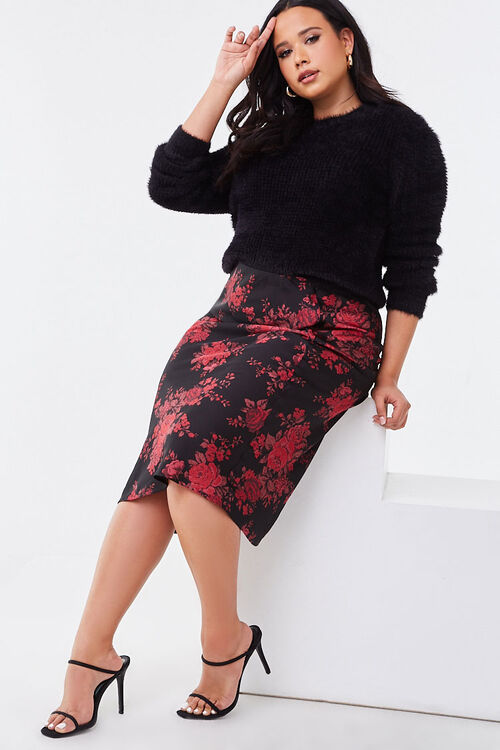 Plus Size Floral Satin Skirt, image 5