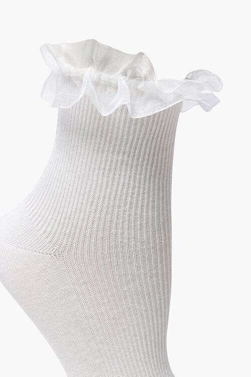 WHITE Ruffle-Trim Crew Socks, image 3