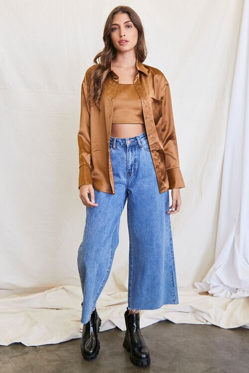 BROWN Satin Cropped Cami & Shirt Set, image 4