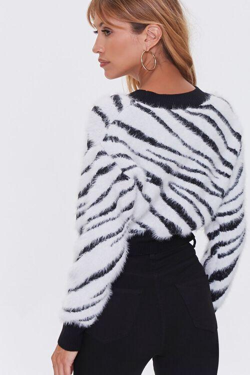 WHITE/BLACK Fuzzy Knit Zebra Cardigan Sweater, image 3