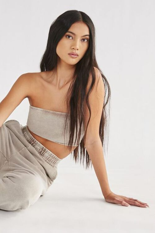Oil Wash Cropped Tube Top, image 1