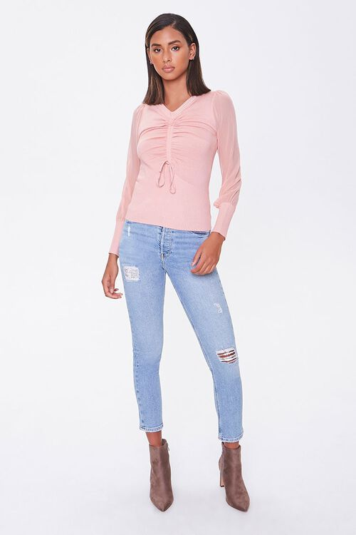 Sweater-Knit Ruched Top, image 4