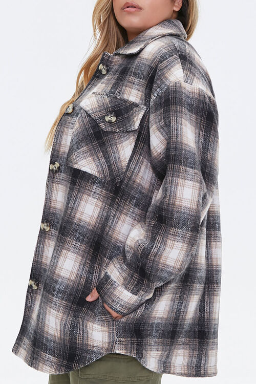Plus Size Plaid Button-Front Jacket, image 2