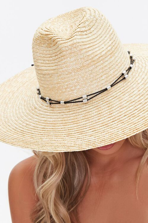 Straw Beaded-Trim Panama Hat, image 3